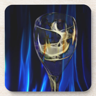 Wine glass against Blue curtain Drink Coaster