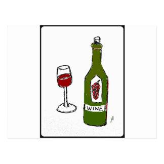 WINE GLASS AND BOTTLE SKETCH by jill Postcard