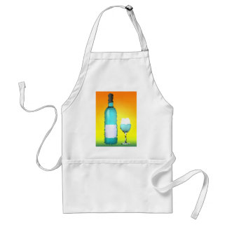 wine glass and bottle : stained glass adult apron