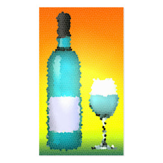 wine glass and bottle : stained glass business card