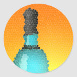 wine glass and bottle : stained glass classic round sticker