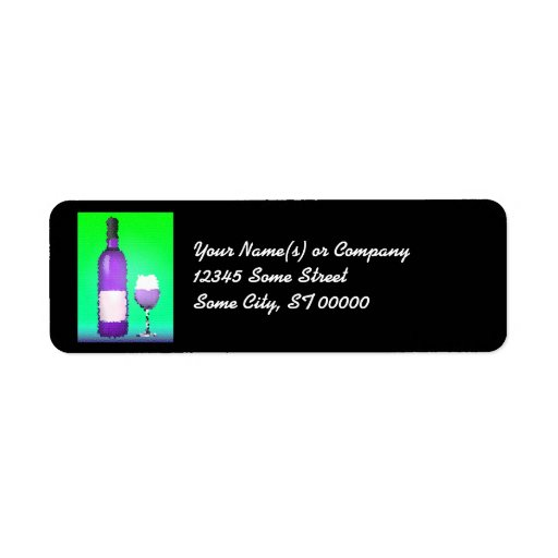 wine glass and bottle : stained glass label
