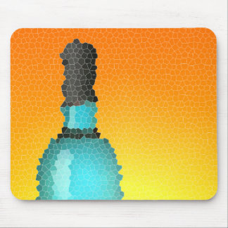 wine glass and bottle : stained glass mouse pad