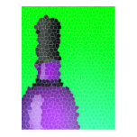 wine glass and bottle : stained glass post cards