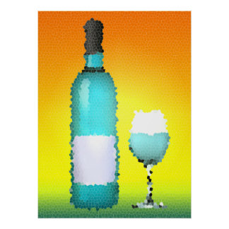 wine glass and bottle : stained glass poster