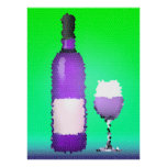 wine glass and bottle : stained glass print