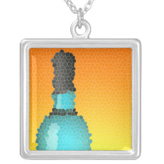 wine glass and bottle : stained glass square pendant necklace