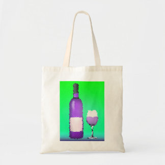 wine glass and bottle : stained glass tote bag
