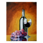 Wine Glass and Grapes Poster