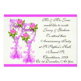 Wine Glass Anniversary 5x7 Paper Invitation Card