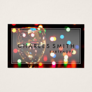 Wine Glass Bokeh Lights Bar or Bartender Business Card