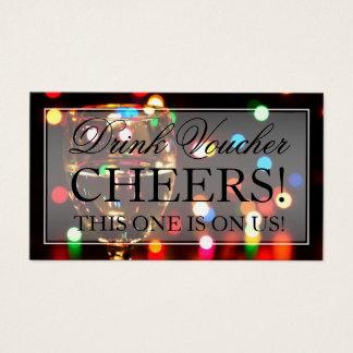 Wine Glass Bokeh Lights Drink Voucher Business Card