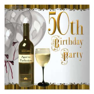 Wine Glass Bottle Black Gold 50th Birthday Party Card