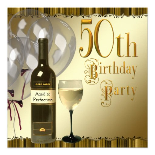 Wine Glass Bottle Black Gold 50th Birthday Party Custom Announcement