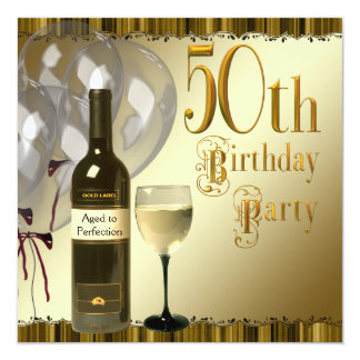 Wine Glass Bottle Black Gold 50th Birthday Party 5.25x5.25 Square Paper Invitation Card
