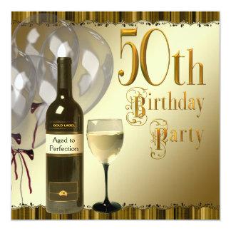 Wine Glass Bottle Black Gold 50th Birthday Party Invitation