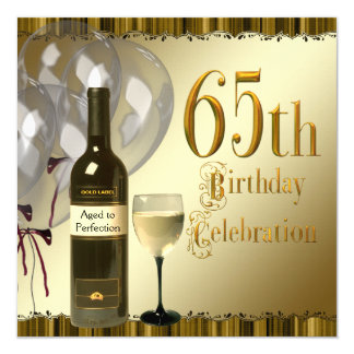 Wine Glass Bottle Black Gold 65th Birthday Party Card