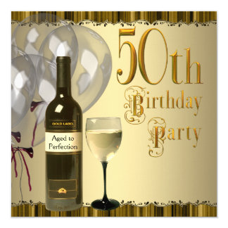 Wine Glass Bottle Gold 50th Birthday Party Card