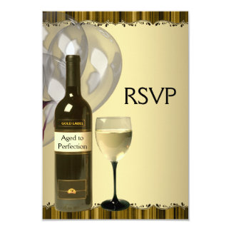 "Wine Glass Bottle Gold 50th Birthday Party RSVP 3.5"" X 5"" Invitation Card"