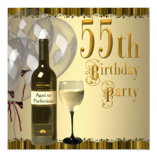 Wine Glass Bottle Gold 55th Birthday Party Card
