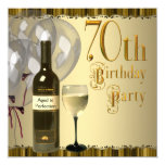 """Wine Glass Bottle Gold 70th Birthday Party 5.25"""" Square Invitation Card"""