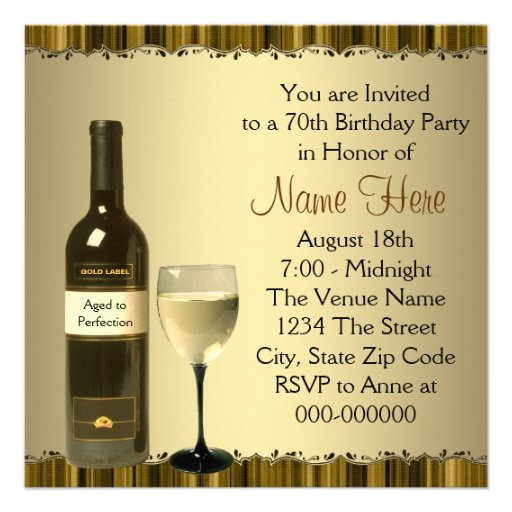 Wine Glass Bottle Gold 70th Birthday Party Invite (back side)
