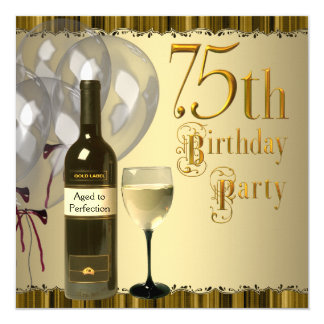 Wine Glass Bottle Gold 75th Birthday Party Card