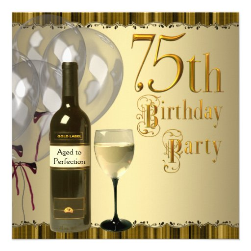 Wine Glass Bottle Gold 75th Birthday Party Custom Announcements