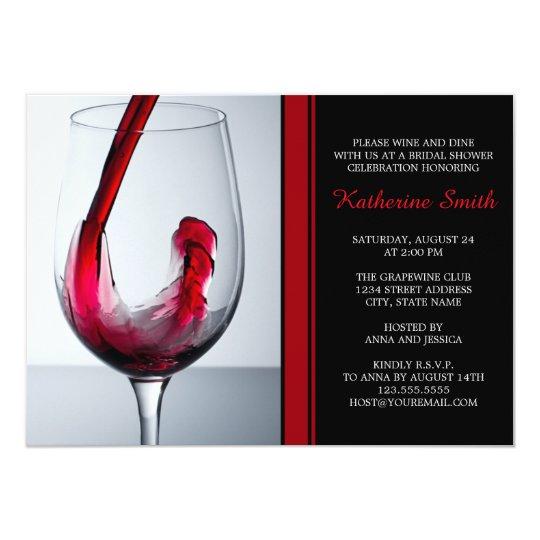 wine glass bridal shower invitations custom