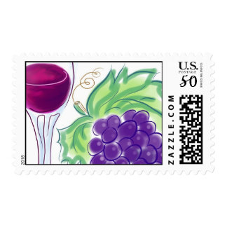 Wine Glass & Grapes Postage