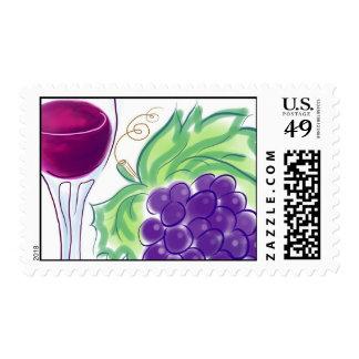 Wine Glass & Grapes Stamp