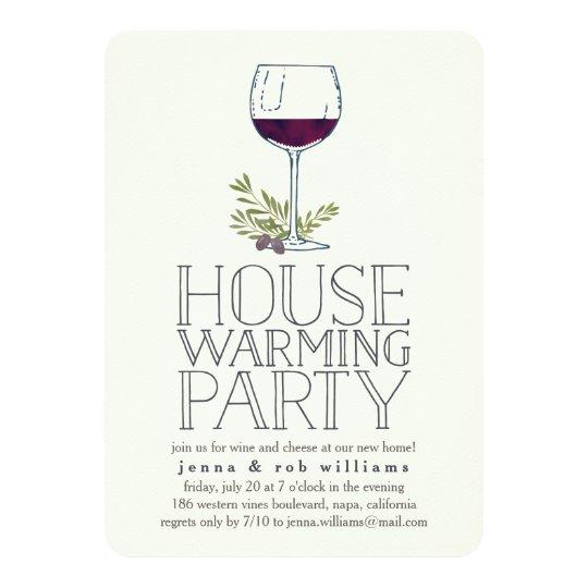 Wine Glass Housewarming Party Invitation Zazzlecom