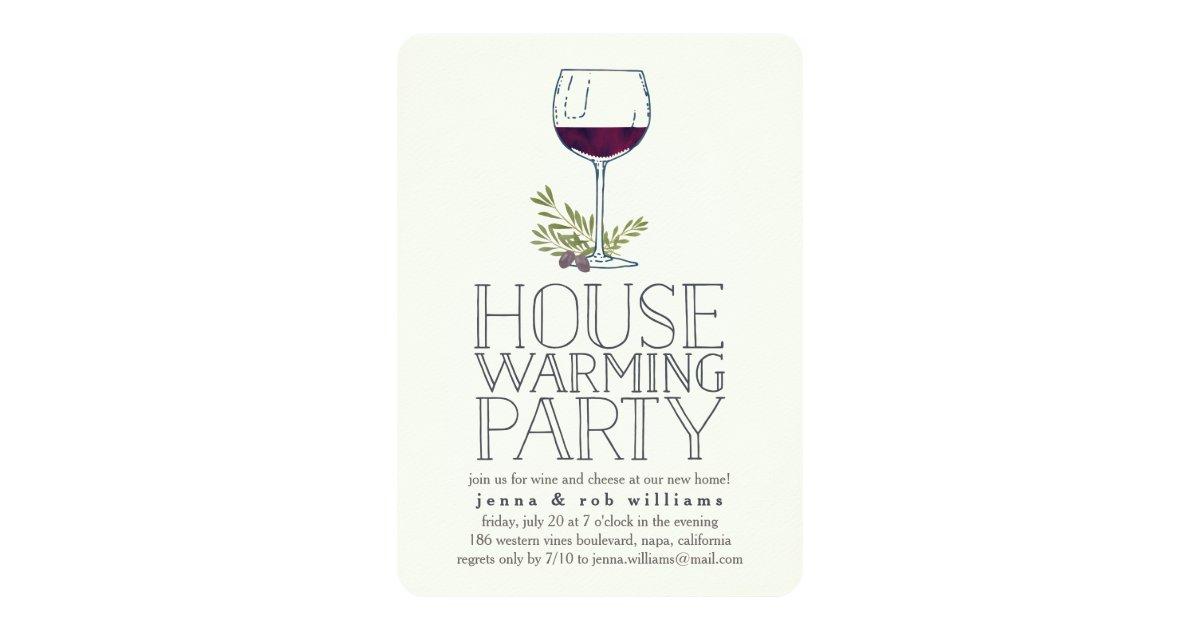 Wine Glass Housewarming Party Invitation | Zazzle.com
