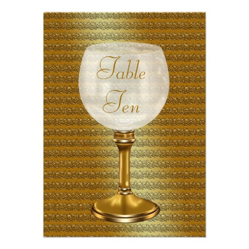 Wine Glass On Gold Wedding Table Number Cards