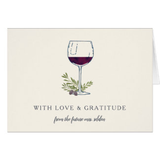 Wine Glass Personalized Thank You Card