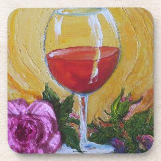 Wine Glass & Pink Rose Coaster