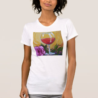 Wine Glass & Pink Rose Ladies Destroyed T-Shirt