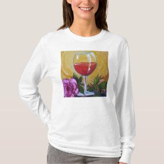 Wine Glass & Pink Rose Ladies Long Sleeve T-Shirt