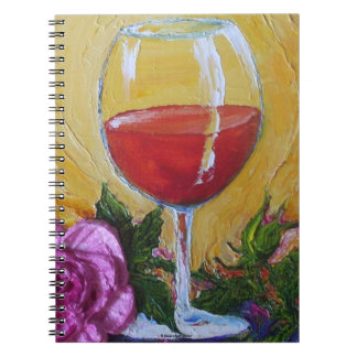 Wine Glass & Pink Rose Notebook
