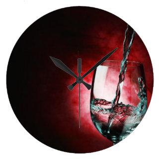 wine glass red clock