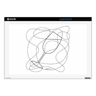 """Wine Glass Scribble Art Decal For 17"""" Laptop"""
