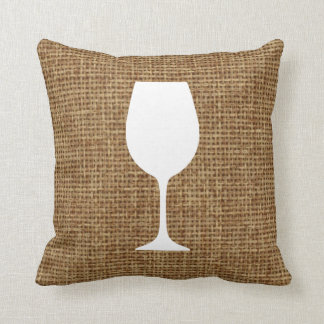 Wine glass silhouette and faux burlap throw pillow