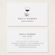 Wine Glass | Sommelier Or Wine Industry Business Card at Zazzle