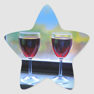 Wine Glass Star Sticker