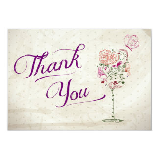 Wine Glass Thank You Note 3.5x5 Paper Invitation Card