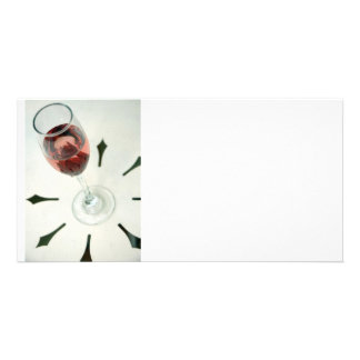Wine glass with flower petals inside custom photo card