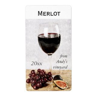 wine glass with fruit wine bottle sticker