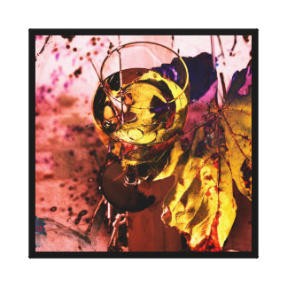Wine glass with grape leaf abstract photo collage canvas print