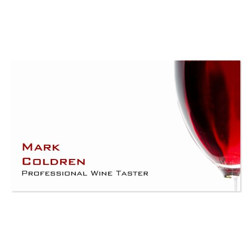 Wine glass with red wine double sided standard business for Wine business cards