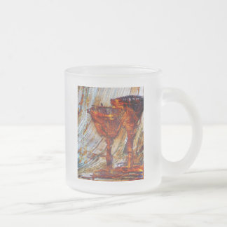 Wine Glasses Abstract Design Texture Frosted Glass Coffee Mug